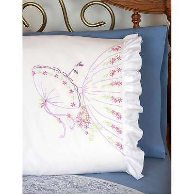 "Stamped Ruffled Edge Pillowcases 30""X20"" 2/Pkg Umbrella Lady 725162825239"