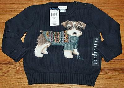 NEW NWT Polo Ralph Lauren Baby Boys Infant Puppy Dog Pullover Sweater $85 *E6