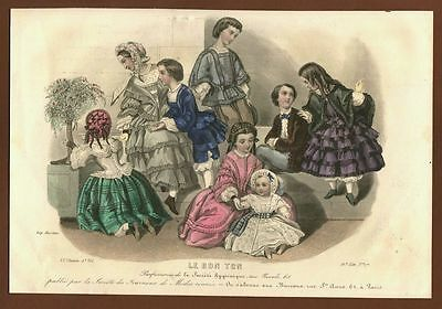Mode Kindermode Children 's Fashion, franz. Stahlstich (1854)