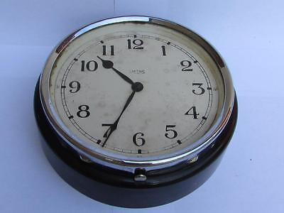 "Vintage Smiths 8 Day - 7"" Chrome Bakelite Wall Clock Shop Railway Industrial Bus"