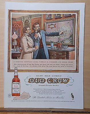 1958 magazine ad for Old Crow Bourbon - Nathan Bedford Forrest meets Basil Duke