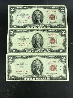 Set of 3 Two Dollar Star Certificates with Red Seal,1953, 1953A, 1953B
