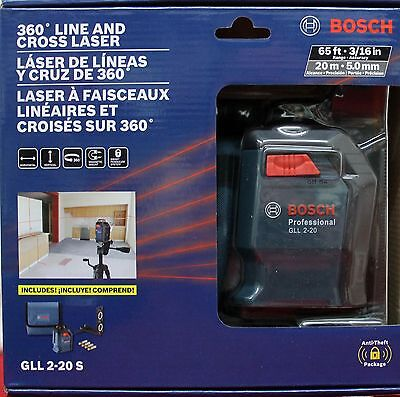 Bosch GLL 2-20 S 360-Degree Self-Leveling Line and Cross Laser NEW