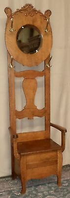 SOLID OAK HALLTREE Bench Round Beveled Glass Mirror Applied Carving ANTIQUE