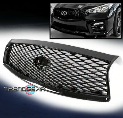 Eau Rouge Concept Mesh Hood Grille Grill Gloss Black For 2014-2017 Infiniti Q50