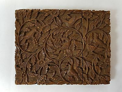 Antique Chinese Hand Carved Cantonese Card Case Birds Foliage Fox 19th Century