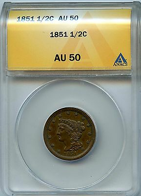 1851 1/2C ANACS AU 50 (About, Almost Uncirculated) Braided Hair Half Cent