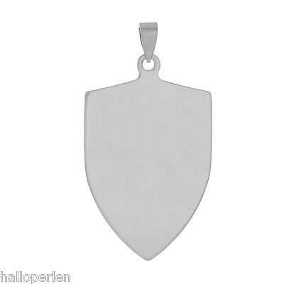 10PCs Stainless Steel Stamping Blank Tags Shield Pendants Silver Tone