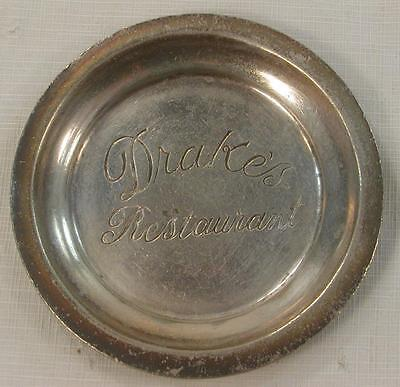 Vintage Drake`s Restaurant Drakes Hotel N.y.c. Silver Plated Coaster Tip Tray