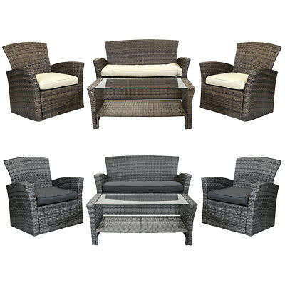 Charles Bentley Deluxe Modern 4 Piece Rattan Garden Furniture Set - Brown/ Grey