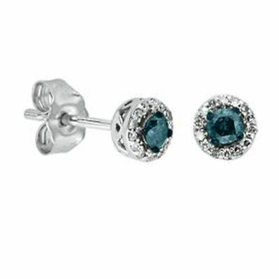 1/4 Ct. Real Blue & White Diamond Halo Stud Earrings In Sterling Silver