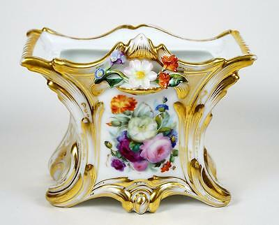 Old Paris Vase Hand Painted Roses Porcelain Attached Flowers Rectangular Shape
