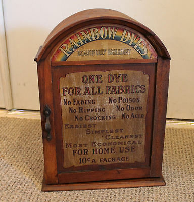 Antique Country Store Rainbow Dyes advertising Display Cabinet