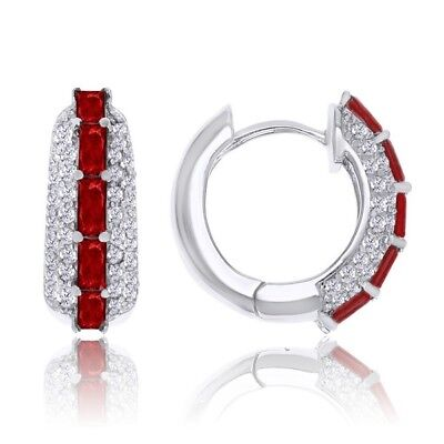 1.14ct Created Ruby & .62ct Round Zircon 925 Sterling Silver Hoop Earrings