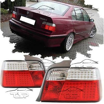 Rear Led Tail Lights Red-Clear For Bmw E36 90-99 Saloon Series 3 Lamp New