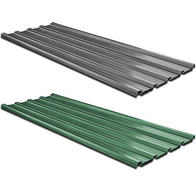 12 pcs Roof Panel for Garages Sheds Stable Building Galvanised Steel Green/Grey