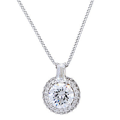 2.0 Ct D/VVS1 Pave' Halo Pendant w/ Chain 14K White Gold Over Sterling Silver