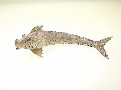 "Fine Continental Sterling Silver Reticulated Fish W/garnet Eyes - 5 1/8"" Long"