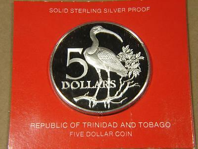1977 Trinidad and Tobago 5 Dollars Sterling Silver Proof Coin