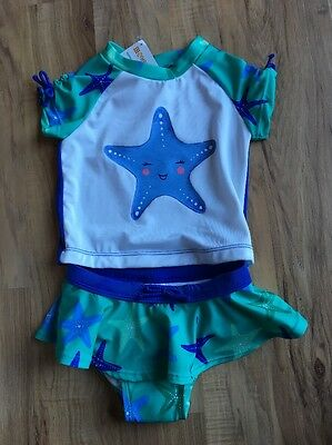 NWT Gymboree Girls Starfish Rash Guard Swimsuit / Swim Set / Swimwear 2t