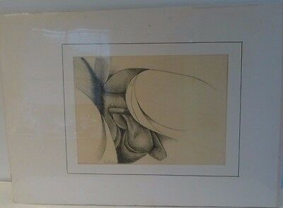 Vtg Signed Paul Russell Gay Interest Abstract Charcoal Sketch Pencil Drawing