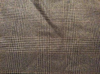 3 Yards Of Vintage Taupe & Black Houndstooth Plaid Wool Blend Fabric