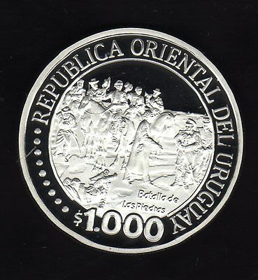 Uruguay 1000 Pesos Bicentenary 2011, Silver Unc. Condition