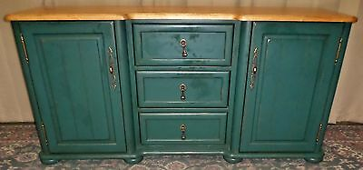 SIDEBOARD BUFFET TEAL BLUE GREEN PAINTED Natural Top Credenza VINTAGE