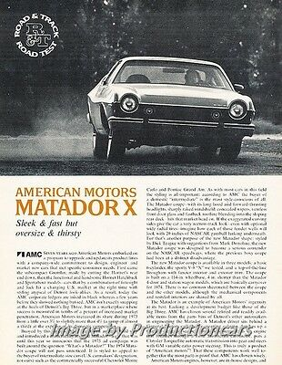 1974 American Motors Matador X Road Test Original Car Review Print Article J674