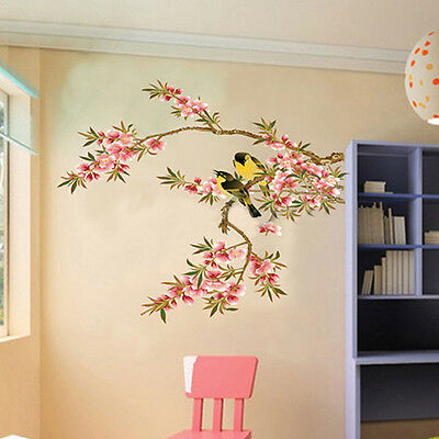Removable Flower Tree Birds PVC Wall Stickers Art Decals Kitchen Home Decor UK & REMOVABLE FLOWER TREE Birds PVC Wall Stickers Art Decals Home ...