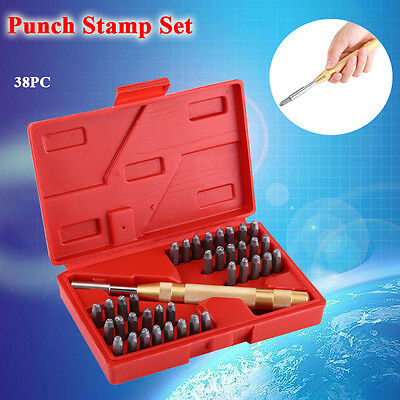 38PC Metal Punch Stamps Number Letter Stamping Tool Set Kit for Plastics Leather