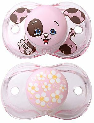 Razbaby Keep It Clean Pacifier  Bundle Pink Flowers/hearts Design And Pink Puppy