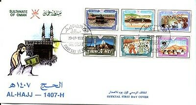 Oman 1987 Sg338A Pilgrimage To Mecca Set On Lovely Fdc B8 Sca
