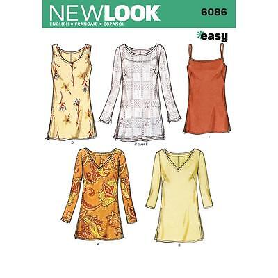 NEW LOOK PATTERN Misses Tunic Tops 6086