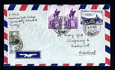 15613-TURKEY-AIRMAIL COVER GALATA to HOLLAND.1948.WWII.Turquie.