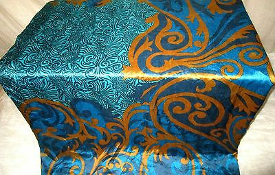 AU Pure silk Antique Vintage Sari 4y HOT BARGAIN Zu17 Blue UK #ABRFO