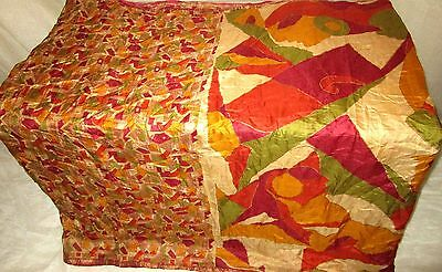 AU Pure silk Antique Vintage Sari 4y HOT BARGAIN Zu17 Multi-color UK #ABRG3