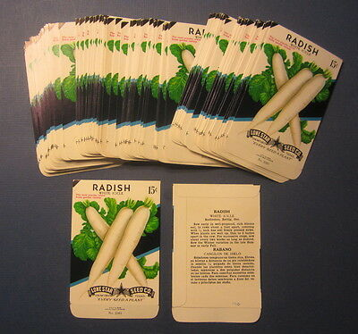 Wholesale Lot of 100 Old Vintage RADISH White Icicle - SEED PACKETS - EMPTY