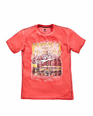 V By Very Boys Short Sleeve Oil Wash T-Shirt in Red Size 11-12 Years
