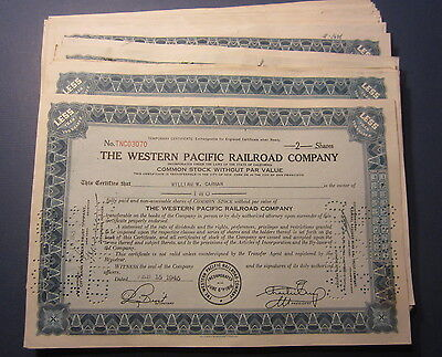 Lot of 50 Old 1940's WESTERN PACIFIC RAILROAD - Stock Certificates - Common