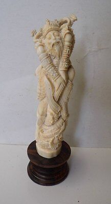 VIKING Warrior Thor & Dragon Statue From Deer Antler Carved Table Decor_u513