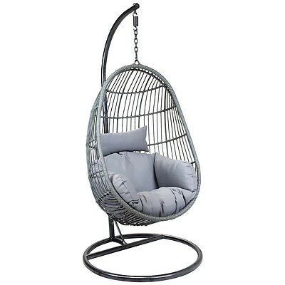 Charles Bentley Hanging Egg Shaped Rattan Swing Chair With Cushion - Grey