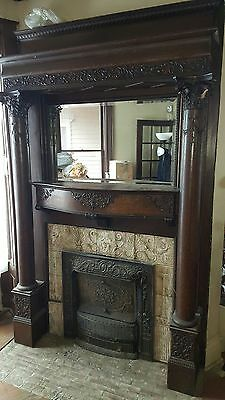 Antique Fireplace Mantel Beautiful Ornate Carved with Beveled Mirror and Columns