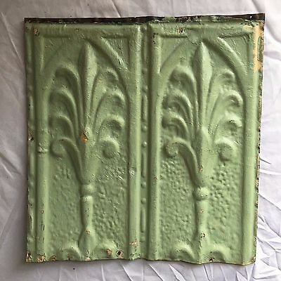 1890's 12 x 12 Antique Tin Ceiling Tile Reclaimed 355-17 Green Anniversary Metal