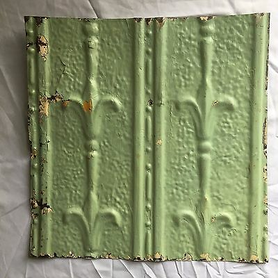 1890's 12 x 12 Antique Tin Ceiling Tile Reclaimed 356-17 Green Anniversary Metal