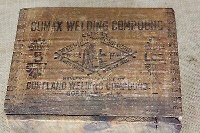 Old wood shipping crate box CLIMAX WELDING COMPOUND blacksmith anvil 1925 label