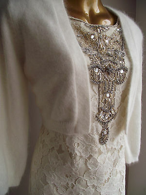 Bn Monsoon Luxurious Ivory Alice Angora Bolero Shrug Large 16-18 To Match Dress