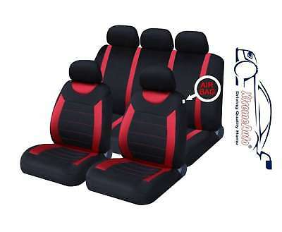 UNIVERSAL CAR SEAT COVERS Full Set Sporty Red/Black Washable Airbag Compatible