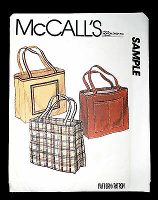 MCCALLS SAMPLE FREE SEWING PATTERN TOTE BAG WITH POCKETS Vintage 1980