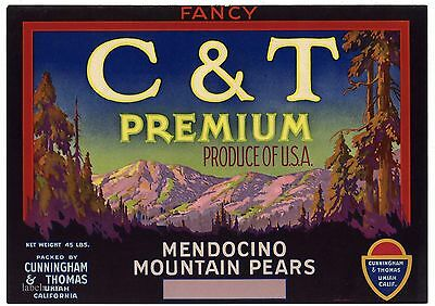 C & T PREMIUM Brand, Mendocino County, *AN ORIGINAL PEAR CRATE  LABEL* 188